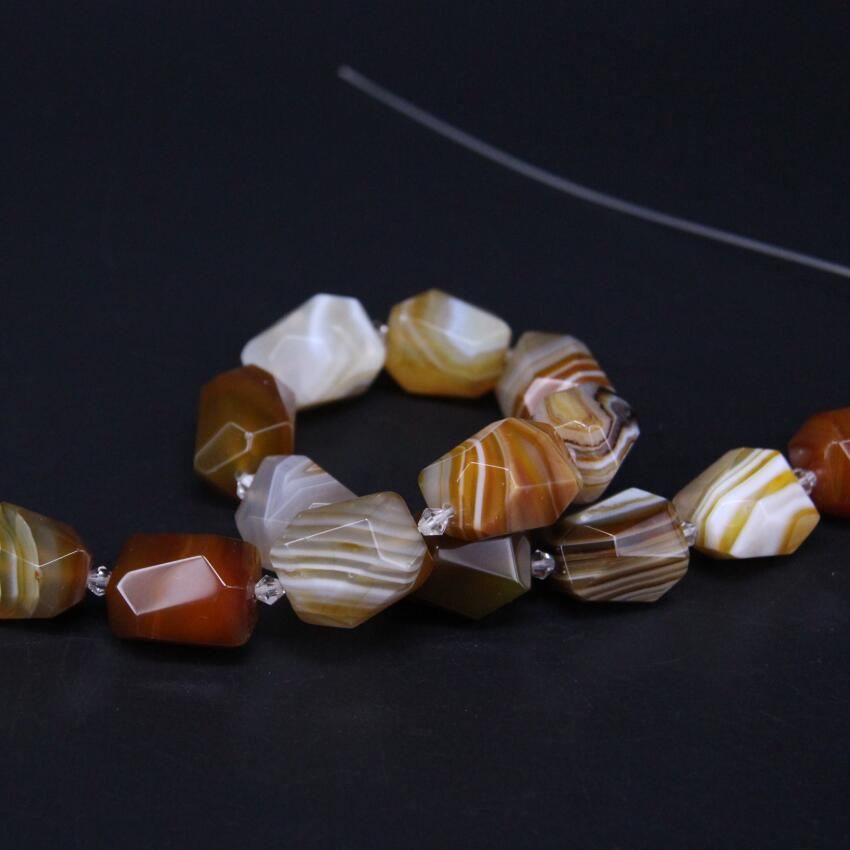 15.5/strand Natural Brown Stripe Agates Faceted Nugget Loose Beads,Onxy Gems Stone Cut Pendants For Necklace Jewelry Making