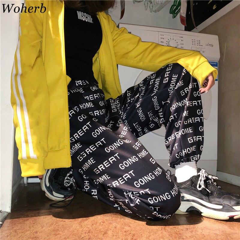 Woherb Girls Harajuku   Wide     Leg     Pants   Loose Letter Print Ankle-Length Trousers Women Hip Hop Streetwear Bunch   Legs   Drawstring