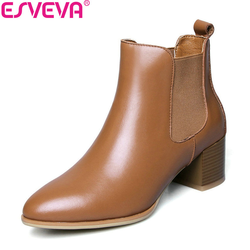 ESVEVA 2019 Women Boots Western Style Shoes Ankle Boots Square Heels Elastic Band Pointed Toe Woman High Heels Shoes Size 34-42 esveva 2018 women boots short plush pu lining elastic band pointed toe square high heels ankle boots ladies shoes size 34 39