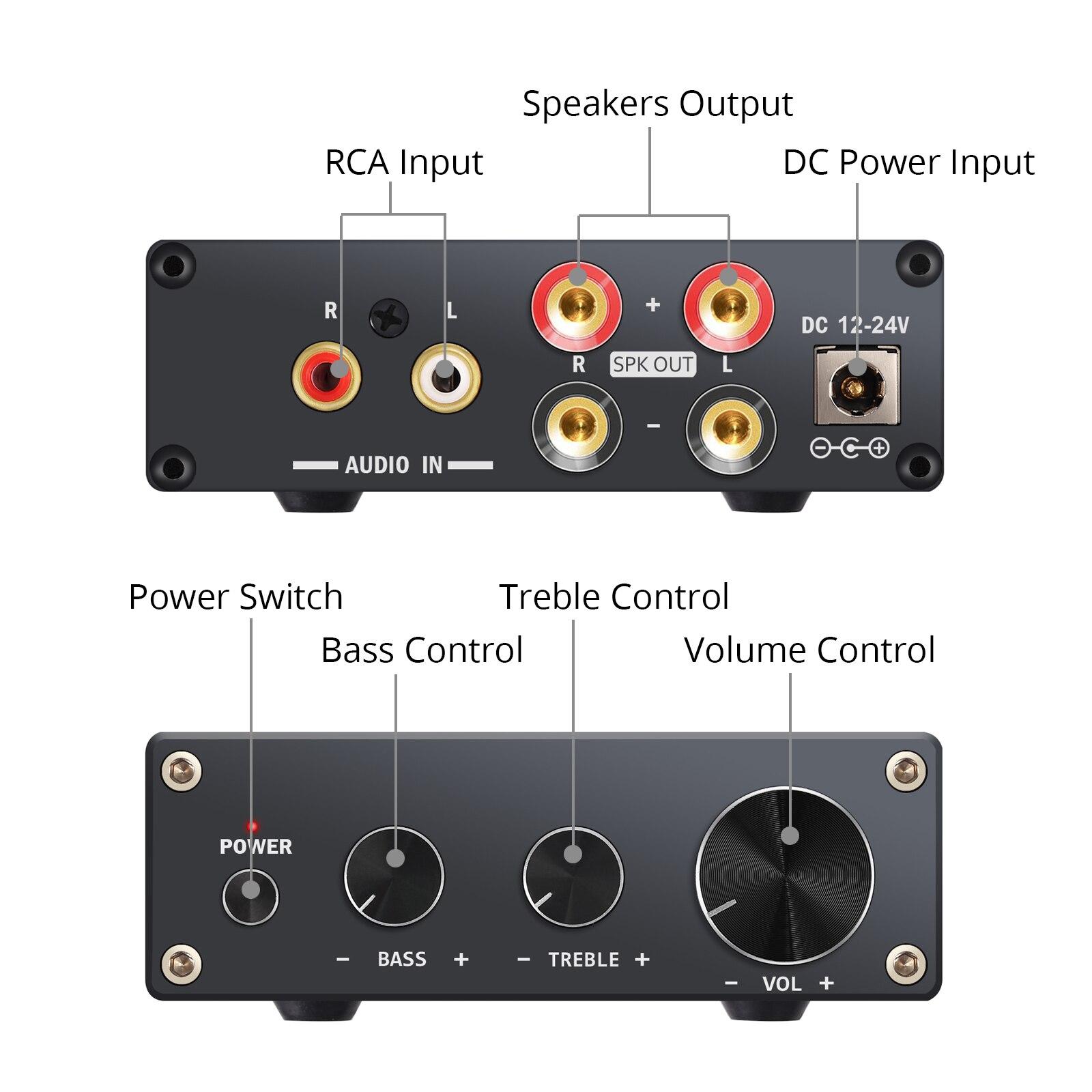 Neoteck 2 Kanal Stereo Audio Verstärker Mini Hallo-fi Klasse D Integrierte Amp Digital Power Verstärker Höhen Control 50 W
