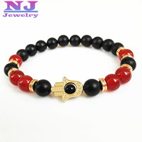 2015 New Design Red Agate With Black Matte Agate Stone Beads Hamsa Bracelet Retail 24K Gold