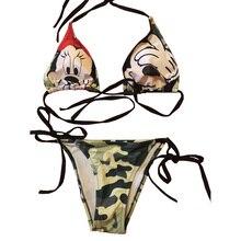2017 Women's Mickey Mouse Cartoon Print Sling Thongs Triangle Bikinis Set Swimwear Swimsuit Summer Beachwear Bathing Suit