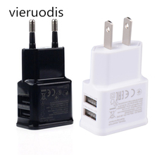 1PCS EU/US plug 5V 1A Dual USB Universal Mobile Phone Chargers Travel Power Charger Adapter Plug for iPhone Android