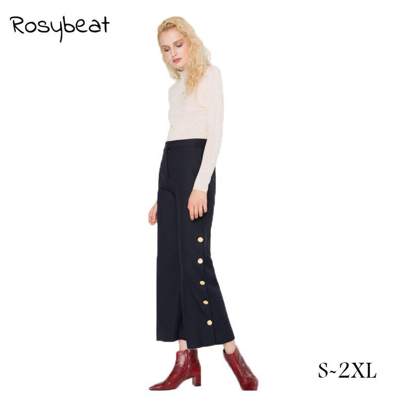 Для женщин брюки клеш модные укороченные брюки Кнопки Декор женские офисные брюки Повседневное длинные брюки спецодежды женский ...