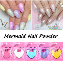 10 g/zak Nieuwe Mermaid Effect Chrome Pigment Poeder Laser Zilver Wit Nail Art Miorror Poeder Mermaid Decoraties(China)