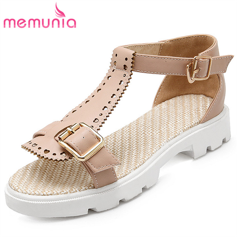 MEMUNIA 2018 fashion summer women sandals hollow out causal shoes buckle flats ladies shoes soft pu leather party shoes woman