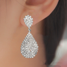 Модные золотые серебряные висячие серьги с полностью кристаллами, роскошные Висячие серьги для невесты, свадебные украшения, подарки