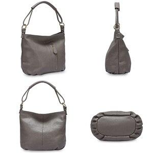Image 4 - Zency 100% hakiki deri çanta Hobos kadınlar omuzdan askili çanta moda bayan Crossbody Messenger çanta Tote çanta siyah gri