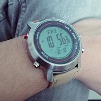 Men's Fashion Multi Function Mountaineer Sport Watches Altimeter Barometer Genuine Leather Strap LED Digital Wrist Watch Relogio