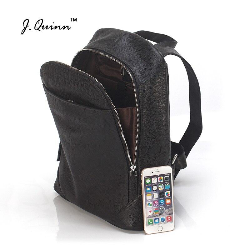 J.Quinn Mens Backpack Zipper Men Real Cow Leather Shoulder Laptop Backpacks Travel Notebook Fashion Bag for Boys Business 2017