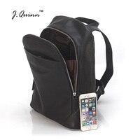 J.Quinn Men's Backpack Zipper Men Real Cow Leather Shoulder Laptop Backpacks Travel Notebook Fashion Bag for Boys Business 2017