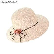 HANGYUNXUANHAO New Fashion Sun Hat Womens Summer Bow Straw Hats For Women Beach Headwear Chapeau Femme Panama