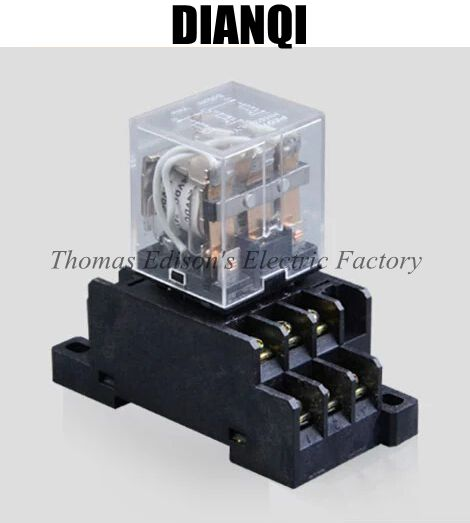 AC 110V OR 220V HH63P LY3N Mini Relay power relay general purpose relay with Socket Base 11 Pin free shipping 14 pin general purpose relay socket base pyf14a din rail mount