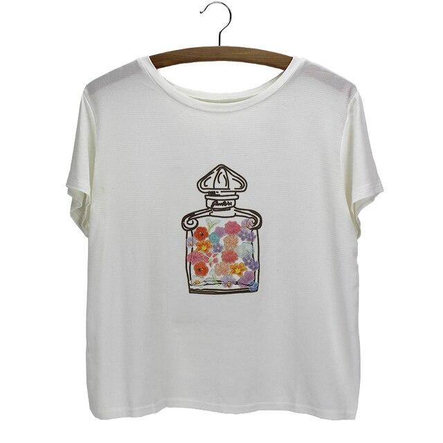 perfume bottle t-shirt women big size flexible sweat shirt female  camisetas cheap 2015 hot sale summer casual   tshirt