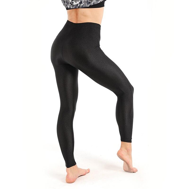 Women Yoga Workout Leggings Casual Shiny Glossy Legging Female Fiteness Leggins Plus Size M-XXXL Black Solid Fluorescent Legging