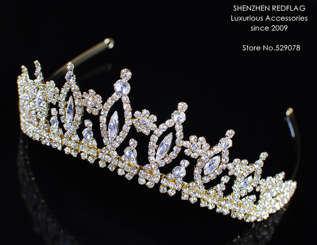 Vintage Wedding Bridal Tiaras Handmade Crowns Clear Crystal Rhinestones Party Prom Pageant Gold Headband Hair Accessories
