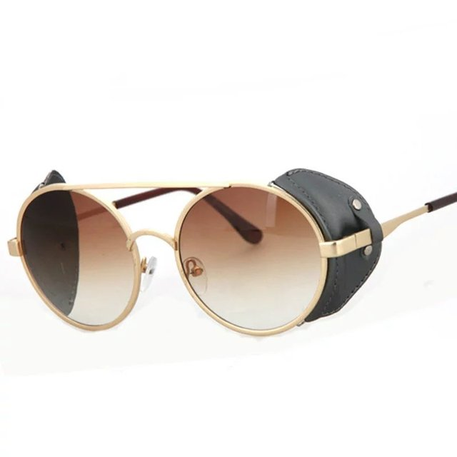 Fashion Men Alloy Frame PU leather Goggle Sunglasses Retro Women Punk Sunglasses