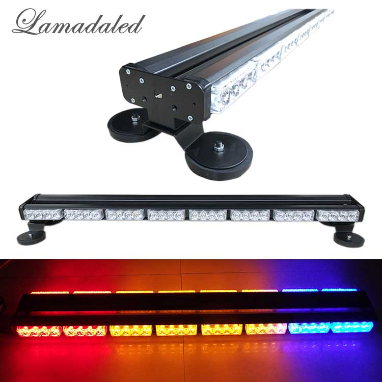 86cm car roof led Strobe Lights vehicle Warning lamp with 2 side led police strobe light high power 64led light bar with magnet izztoss yellow taxi cab roof top sign light lamp magnetic large size car vehicle indicator lights
