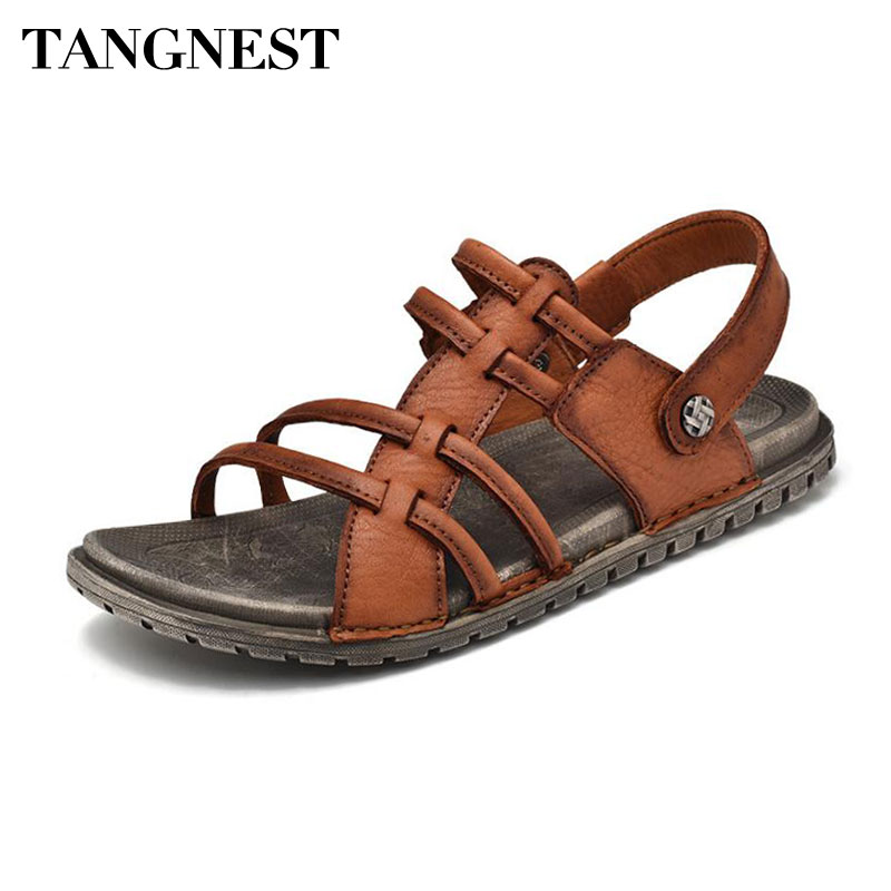 Tangnest Brand Genuine Leather Gladiator Sandals Men Classic Cow Leather Slip-on Beach Sandals Waterproof Outdoor Shoes