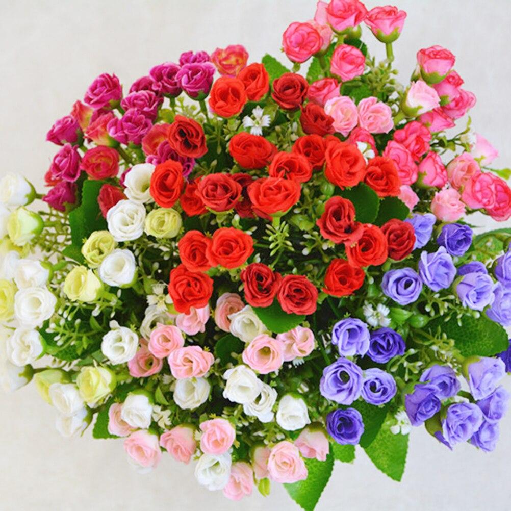 แต่งงานพรรคตกแต่งบ้านดอกไม้ประดิษฐ์ดอกไม้ผ้าไหมยุโรปฤดูใบไม้ร่วงสดใส25หัว