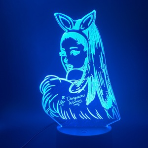 Image 4 - 3D lampa stołowa Nightlight Celebrity Singer Ariana Grande plakat kot dzieci prezent dla sypialni dekoracyjne 3D Led lampka nocna