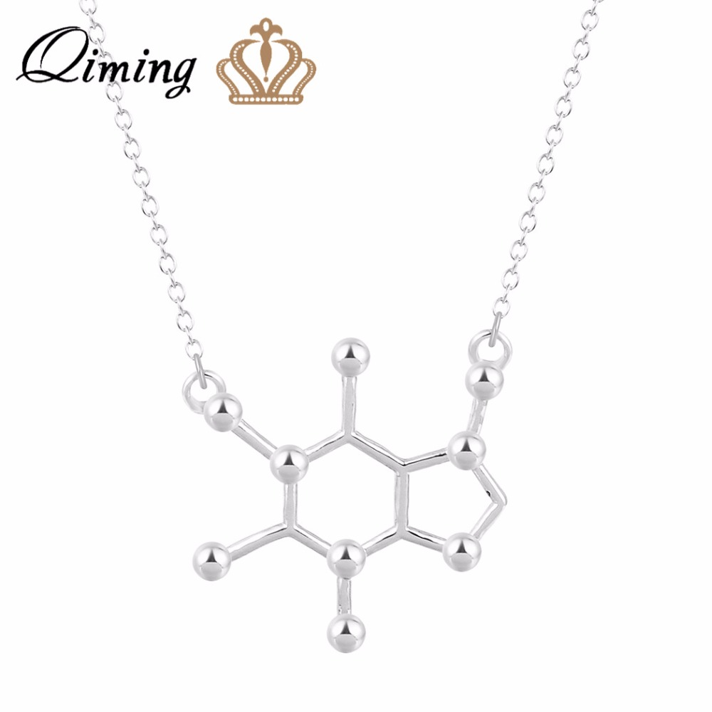 QIMING New Women Pendant Necklace Caffeine Molecule Necklace Structure S Necklaces Chemistry Necklace For Girl Gift