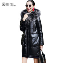 Long Winter Genuine Leather Jacket 2018 Women Hooded Duck Down Real Sheepskin Coat With Large Natural Fox Fur Collar 5XL Okb418