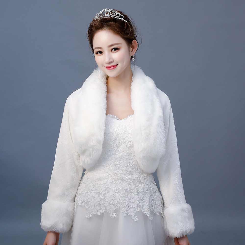 Long Sleeve Faux Fur Shrugs For Women Winter Warm Coat White Fur Bridal Bridesmaids Wedding Bolero Jacket