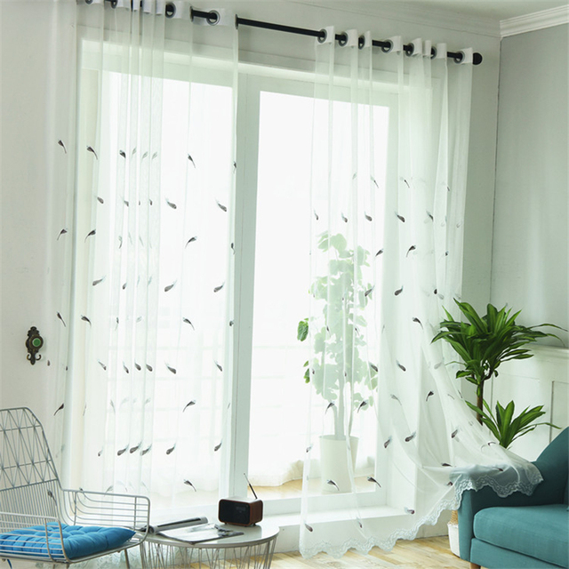 Window Feather Embroidered Pink Yarn Curtain Bedroom Living Room Tulle Sheer Voile Curtains For Cortina Rideaux Chambre Drapes
