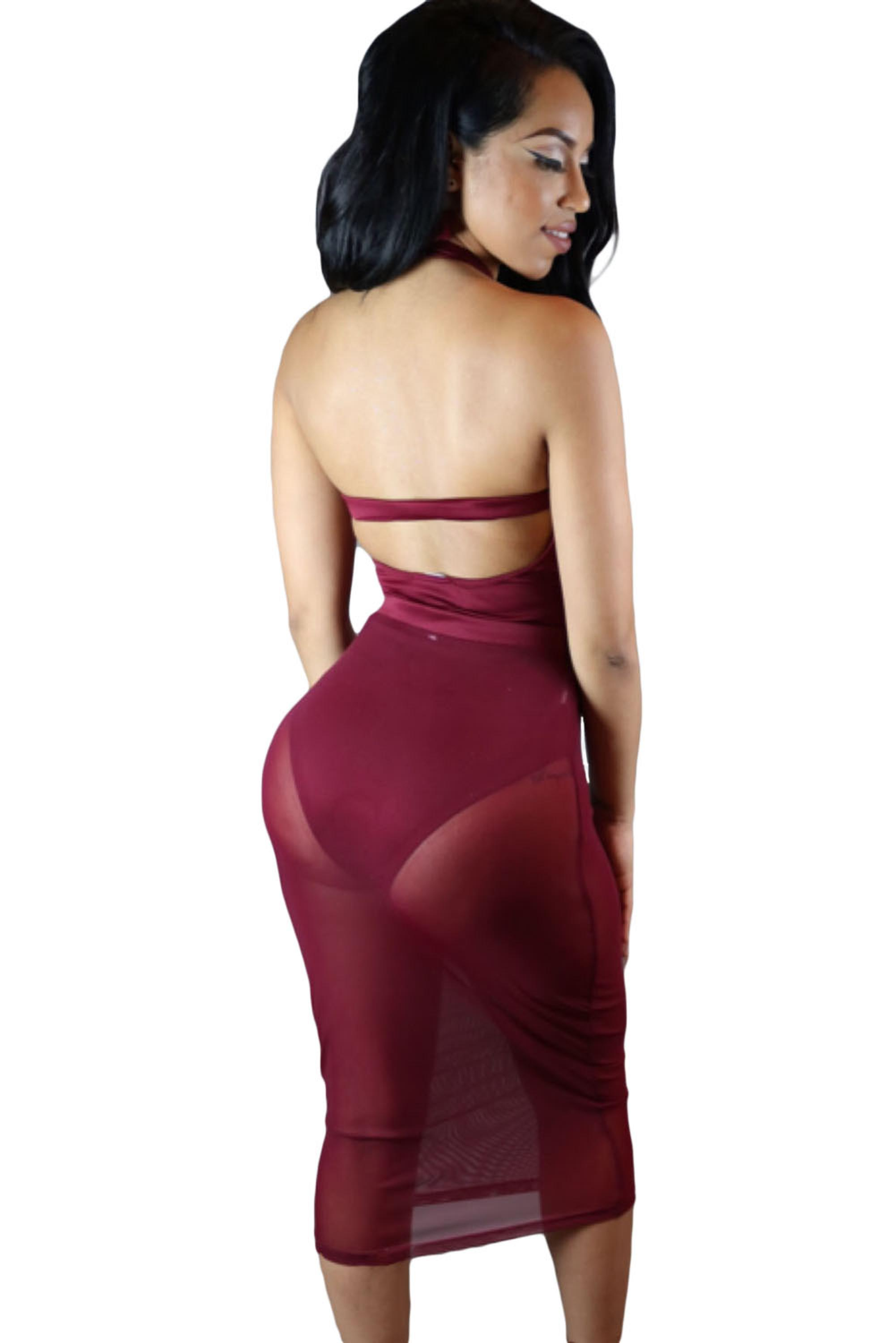 Wine-Caged-Bandage-Bodysuit-with-Sheer-Mesh-Skirt-LC64013-3-2