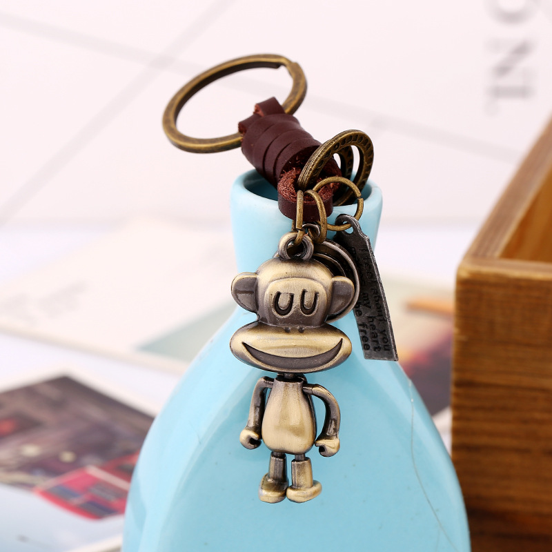 XIAOJINGLING Keychain Genuine Leather Monkey Design Key Chains Key Ring Personality Womens Bag Accessories Fashion Jewelry Gift