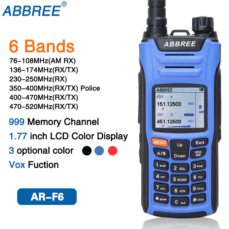 ABBREE AR F6 Walkie Talkie six 6 Bands police band LCD Color Display Dual Display Dual