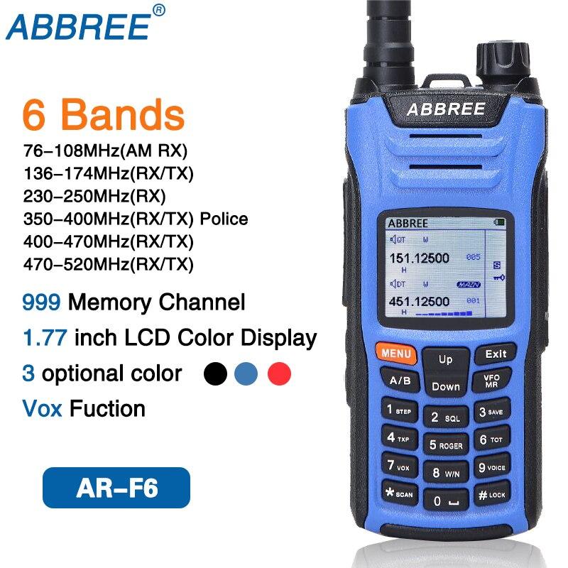 ABBREE AR-F6 Walkie Talkie six 6 полос police band LCD цветной дисплей двойной режим ожидания 999CH VOX DTMF SOS Ham Radio