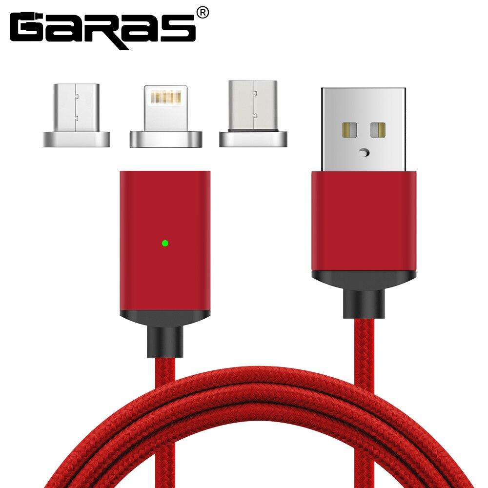 GARAS Cable magnético para Iphone/Micro USB tipo C Cable adaptador 3in1 cargador rápido Cables de teléfono móvil para Cable tipo C/Micro USB