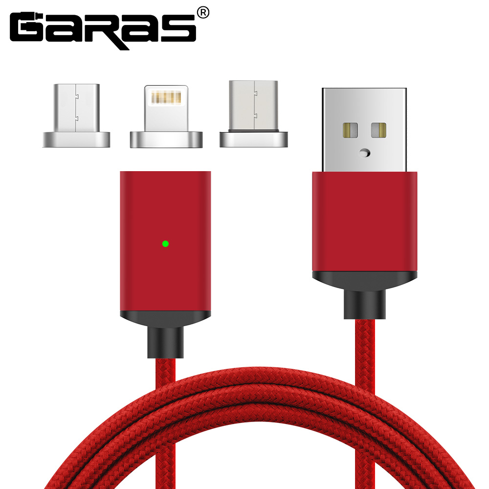 GARAS Cavo Magnetica Per Iphone/Micro USB di Tipo C Cavo Adattatore 3in1 Caricatore Veloce Cavi per cellulari e smartphone Per Il Tipo C/ micro Cavo USB