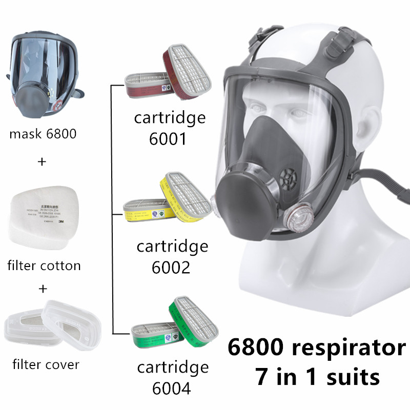 7 In 1 Gas Mask 6800 Full Face Painting Spraying Respirator Industrial As Original 6800 Gas Mask Respirator Support 3M Filters
