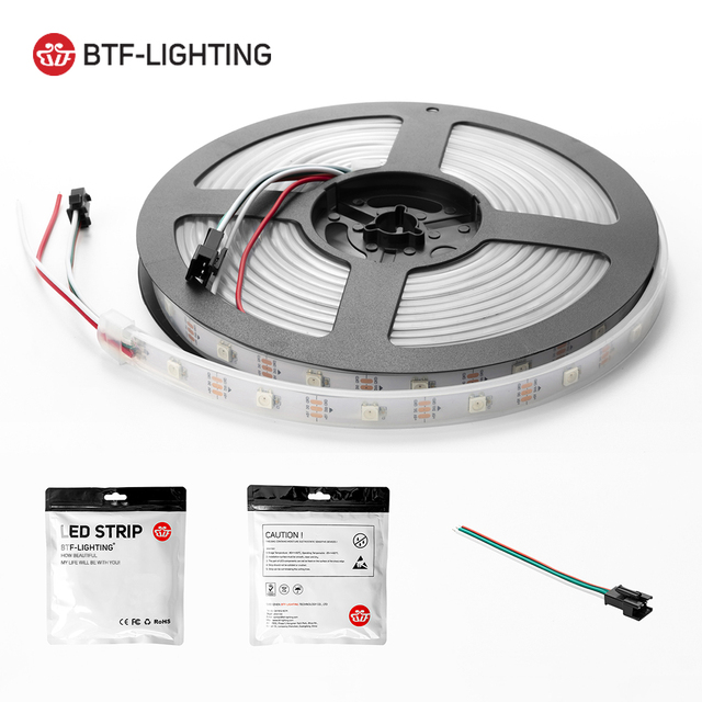 1 m/2 m/4 m/5 m WS2812B bande Led 30/60/74/96/100/144 pixels/leds/m WS2812 bande de lumière Led RGB intelligente noir/blanc PCB IP30 /65/67 DC5V 5