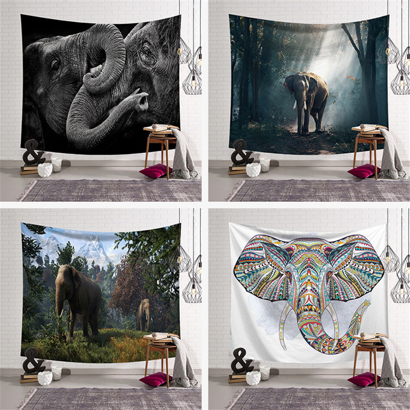 Elephant pattern digital printed tapestry Colorful Psychedelic carpet beach towel Indian Tapestry Wall Hanging Printed Decorati