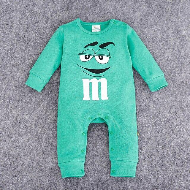 2017 Baby Kleding Herfst Pasgeboren Baby Rompertjes brief M Kleding Kostuums Cartoon Funny Kids Jumpsuit Pasgeboren Jongens Kleding 1