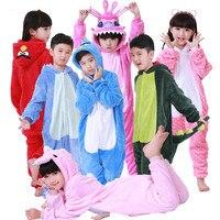 2016 New Baby Boys Girls Pajamas Autumn Winter Children Flannel Animal Funny Animal Stitch Panda Pajamas