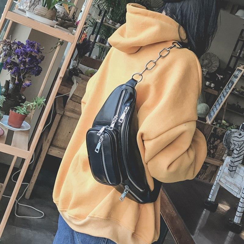 Damentaschen PüNktlich Weibliche Casual Pu Leder Taille Tasche Reise Zipper Kette Messager Schulter Geschlungen Stil Brust Schwarz Bag Drop Verschiffen Bolso Cintura Attraktive Mode