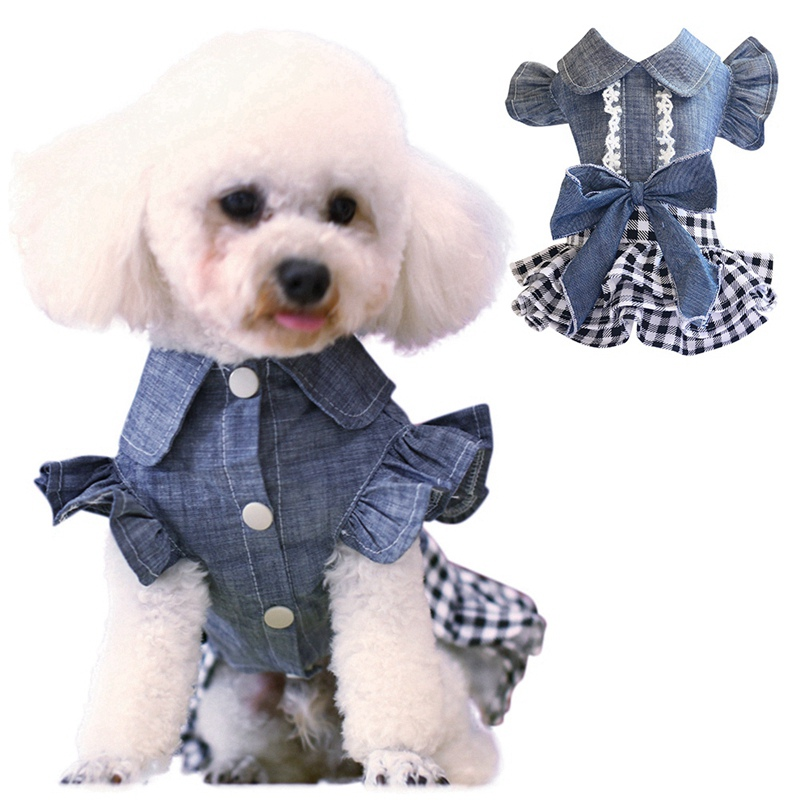 Spring Pet Dog Clothes Dog Denim Dress Jeans Skirt Small Dog Dress Puppy Clothes Chihuahua Yorkies Teddy Pet Clothing 2