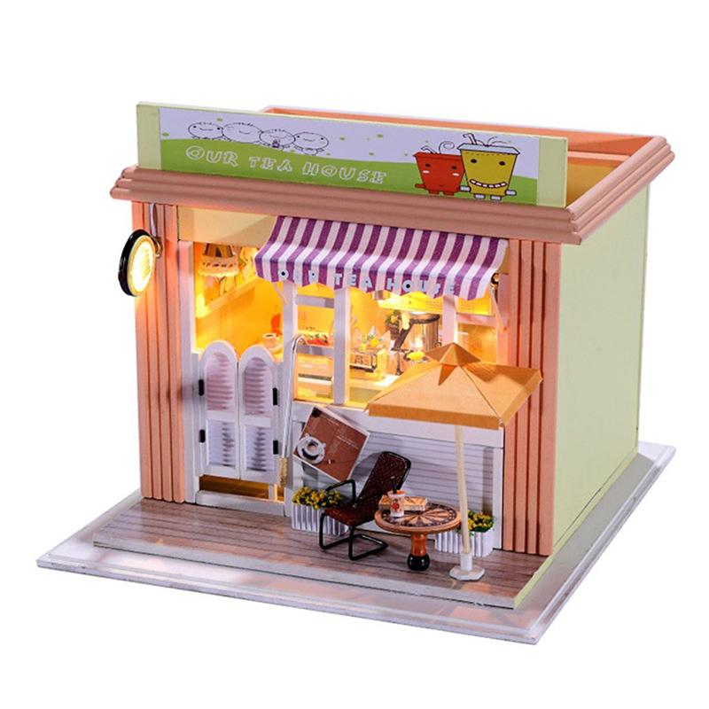 DIY Wood Doll House Milk Tea Store Handmade Craft Miniature Model Tea House With Furniture Cover Toy Kids Birthday Gift