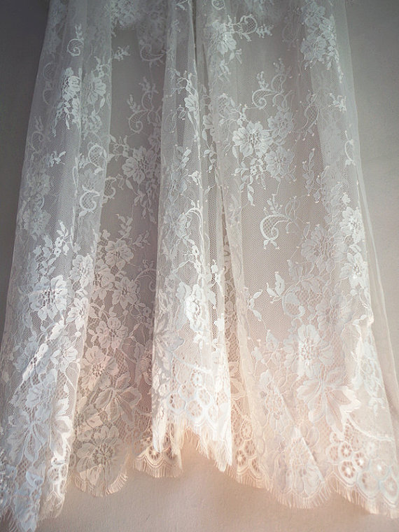 elegant eyelash ivory lace fabric, chic French Chantilly lace, 150cm width sell by 1 yard for wedding dress, veil, blouse, tees