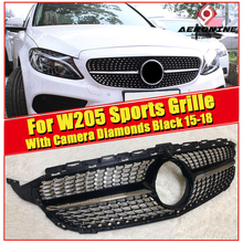 For MercedesMB W205 Sports Front Diamonds Grille Grill C Class C180 C200 C230 C250 C280 C300 ABS Black Tape camera Grills 2015+