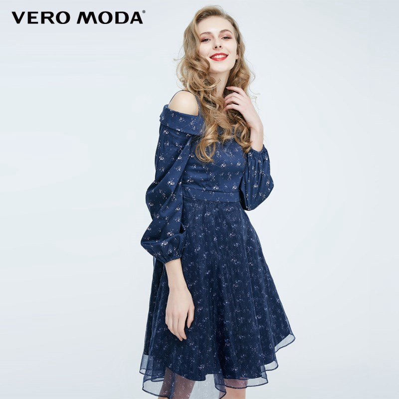 Vero Moda Stitching Print Strap Design Sleeve Off Shoulder Dress   31827D521