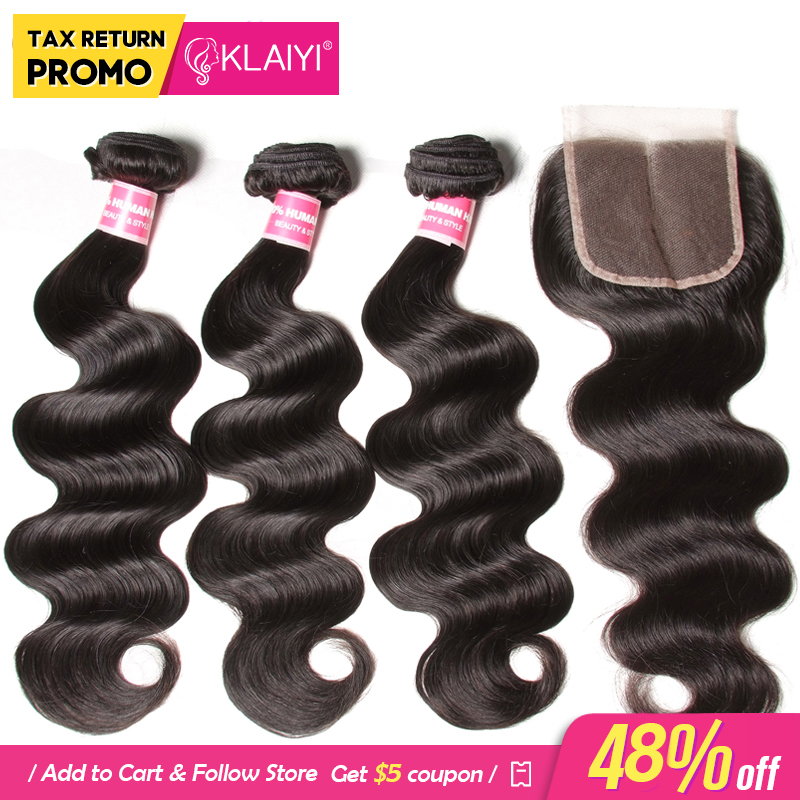 KLAIYI Hårbrasilian Body Wave With Closure 4 PCS Remy Hair Weave - Mänskligt hår (svart)