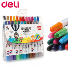 Deli  Rotating Oil pastels 12/24 Color Student Graffiti Painting Pen Child Baby Soft Crayon