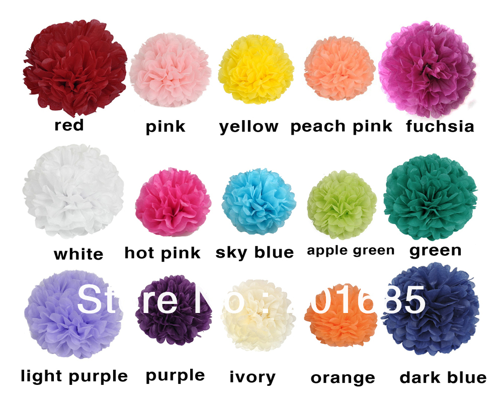 4 Tissue Paper Pom Poms Flower Balls Wedding Party Shower