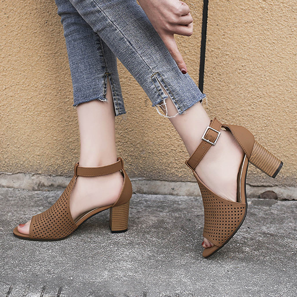 2019 Neue Mode Stiefel Frauen Damen Platz Ferse Fisch Mund Aushöhlen Schnalle Römische Schuhe Sandalen Dame Schuhe Drop Verschiffen